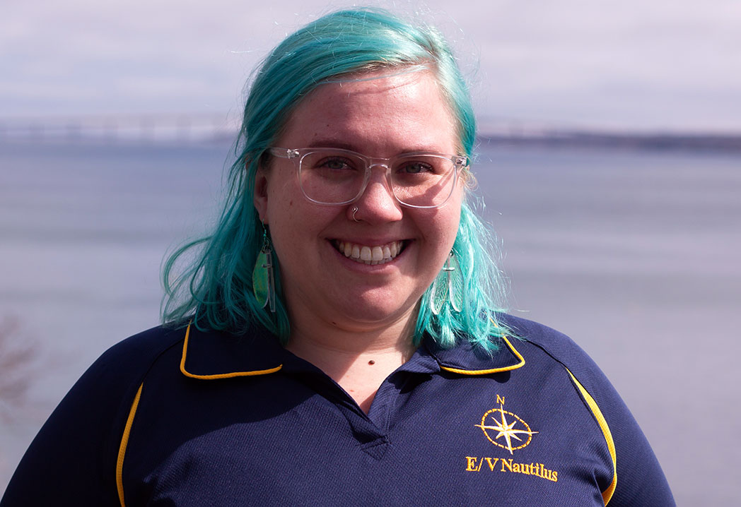Science Interpreter Alix Leszczynski prepares for a stint aboard the E/V Nautilus