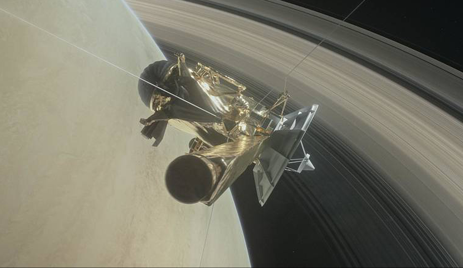 Of planet earth as a point of light between the icy rings of saturn - Illustration Of Cassini Spacecraft S Grand Finale Dive