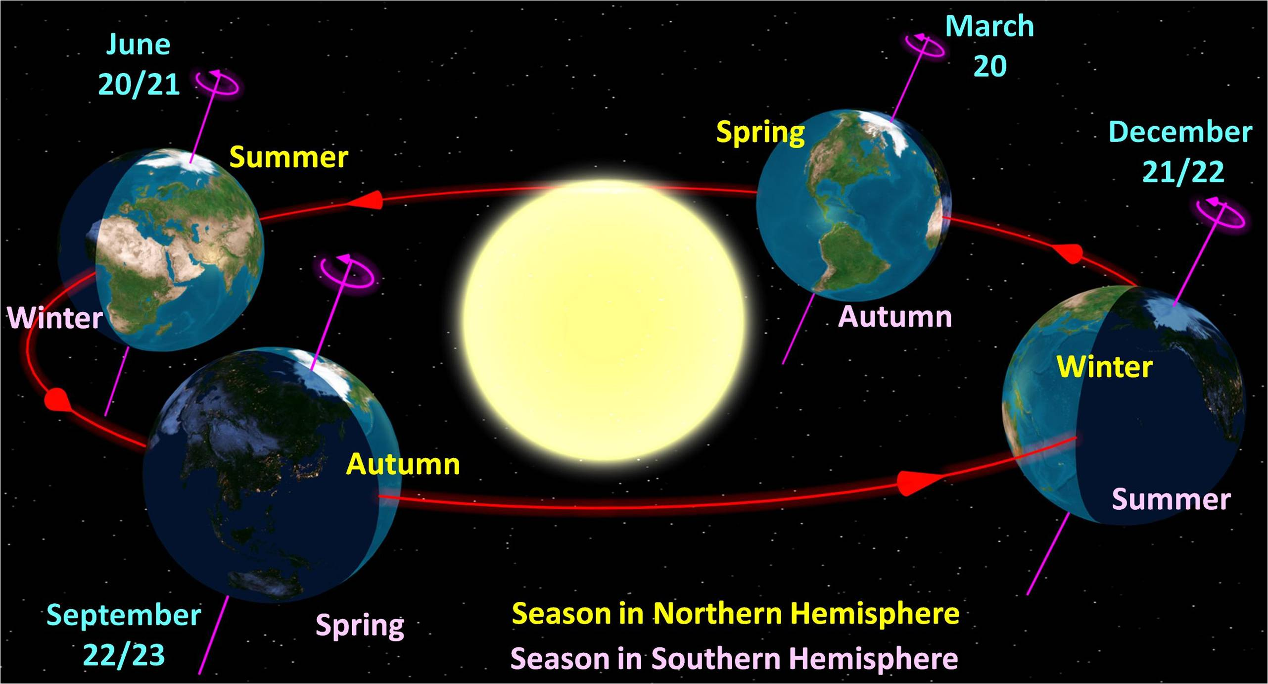 Astronomical diagram of the four seasons with sun in the center (drawing not to scale)