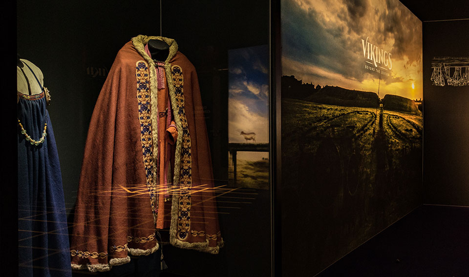 Photo of Viking Clothing in an Exhibit Case