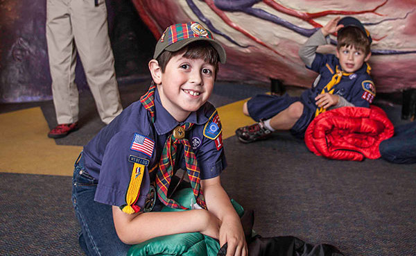 Scouts at The Franklin Institute for a Camp-in