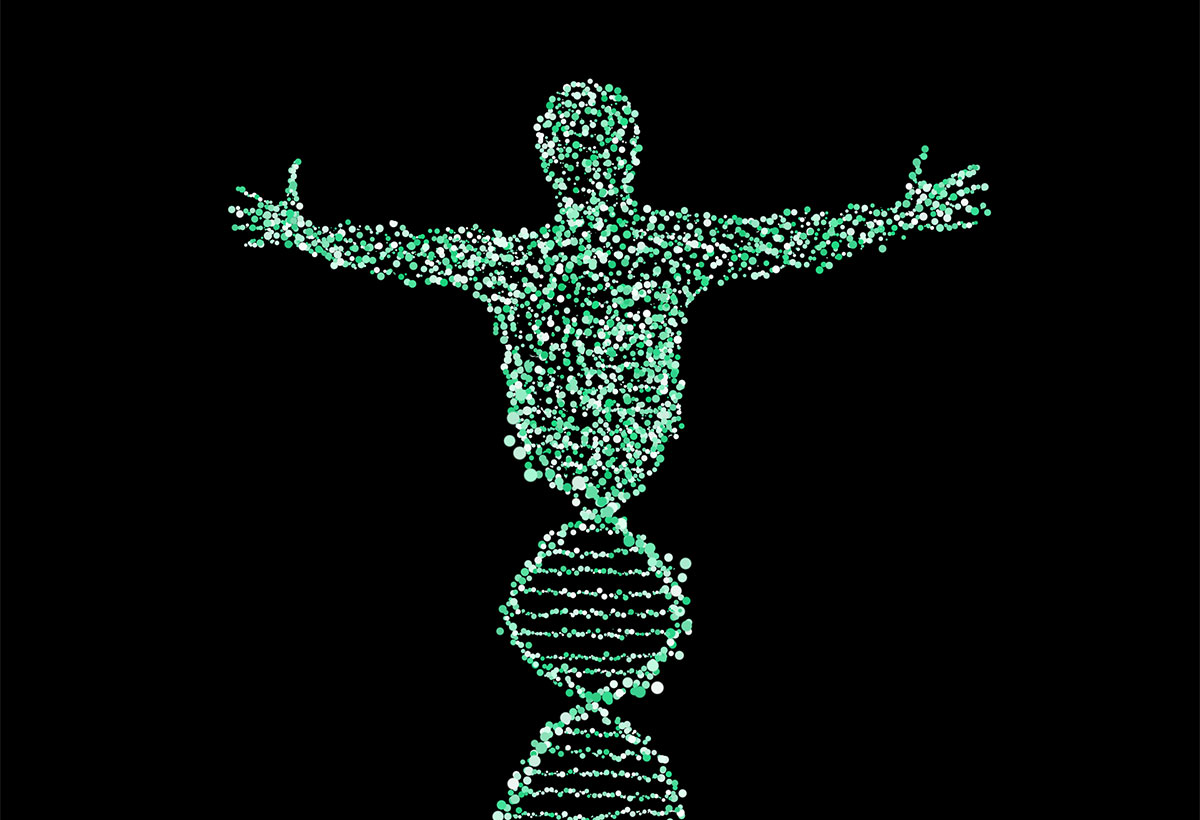 DNA in shape of human with outstretched arms