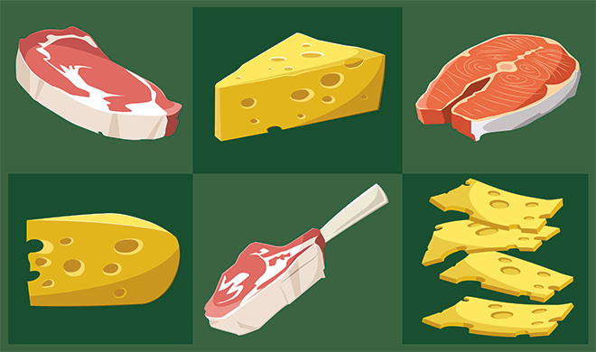meat and cheese cartoon