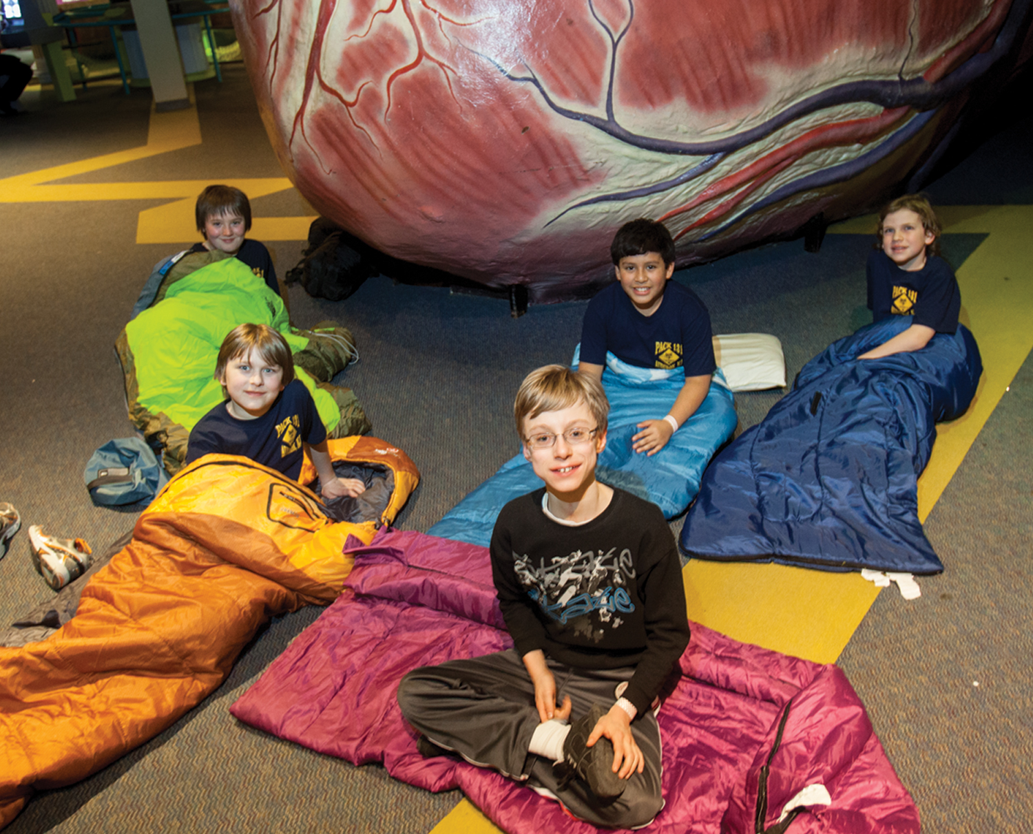 Five boy scouts in their sleeping bags infront of The Giant Heart during a Camp-In event.