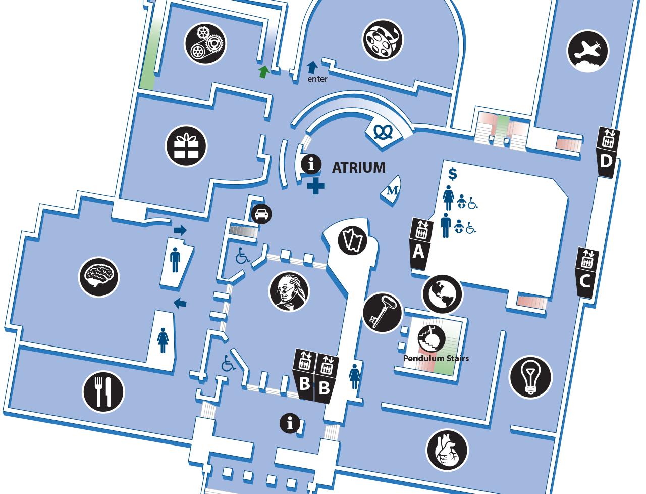 Map of the second floor, showing the locations of major, permanent exhibits, The Giant Heart, and the Benjamin Franklin Memorial..