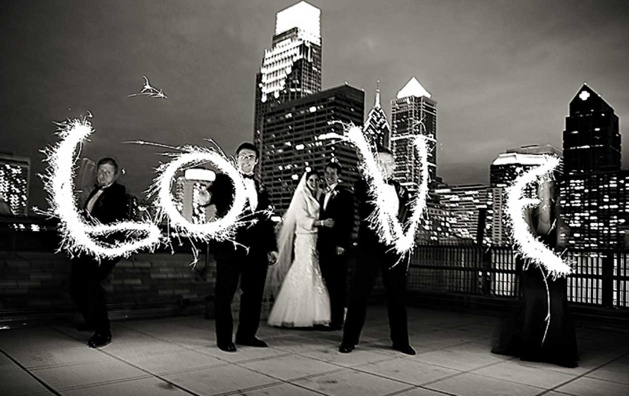 A wedding reception being held on the rooftop deck of The Franklin Institute.