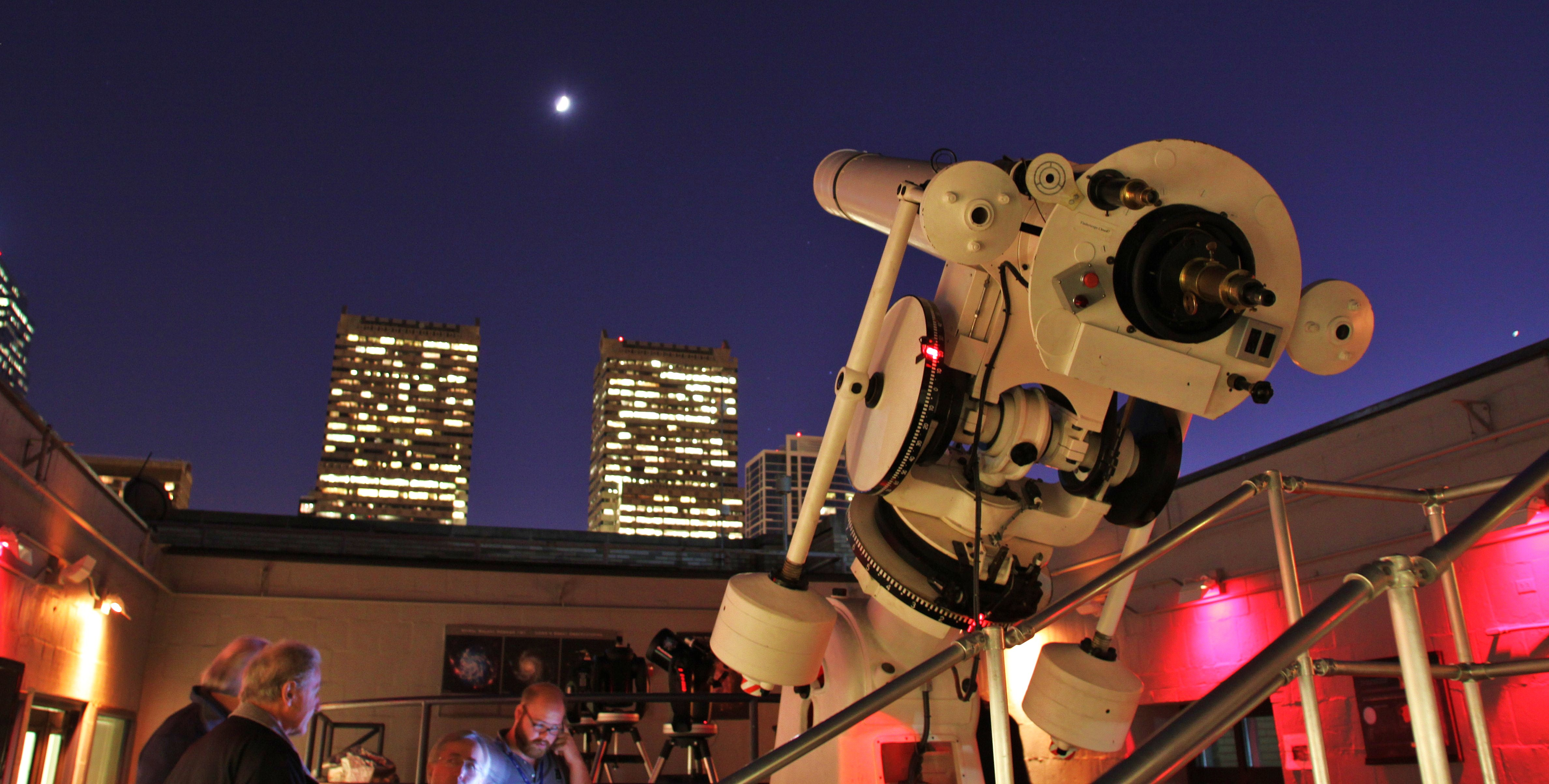 telescope at top of The Franklin Institute