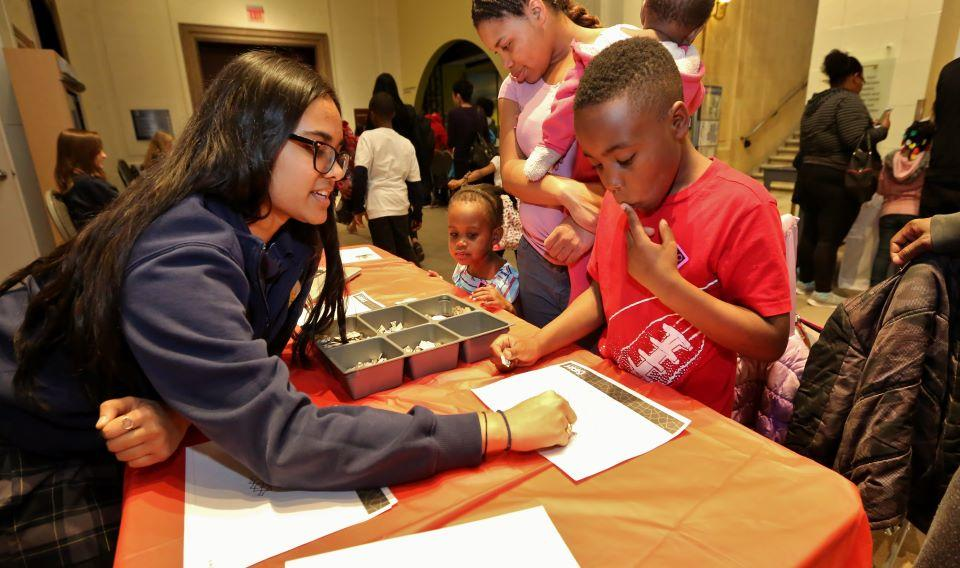 Visitors learning about science at a community night