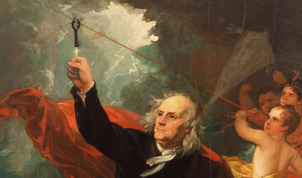 Painting of Benjamin Franklin Drawing Electricity from the Sky, by Benjamin West. Oil on slate, circa 1816.