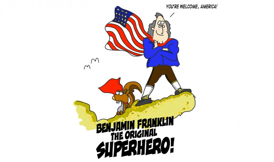Benjamin Franklin as a superhero
