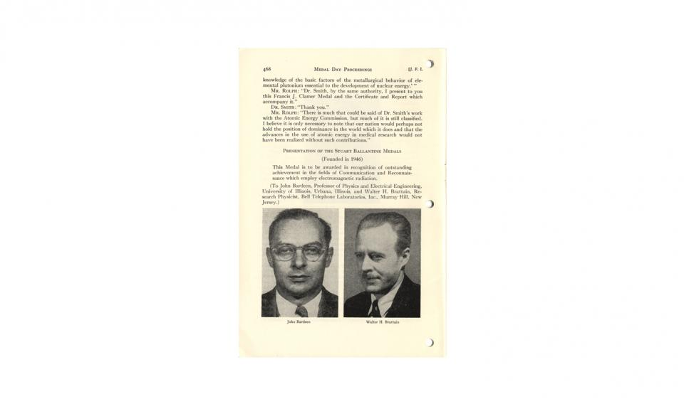 """Medal Day Proceedings;"" an article reprinted from The Journal of The Franklin Institute, Vol. 254, No. 6, December, 1952"