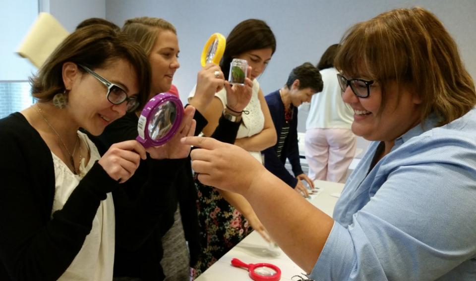 Workshop participants observing specimens through magnifying glasses