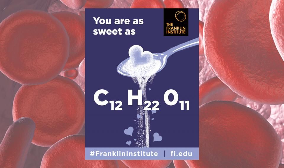 Graphic image of Nerdy Valentine with text You're As Sweet As and then shows the Chemical Formula for Sugar