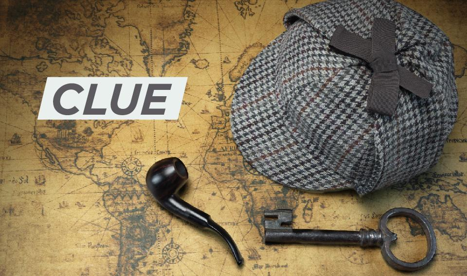 "Image of a deerstalker hat, a smoking pipe, and a key with the word ""Clue"""