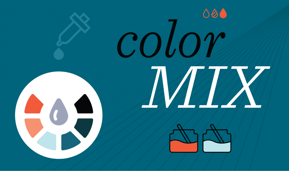 "Graphic illustration of paint dropper and color wheel with words ""Color Mix"""