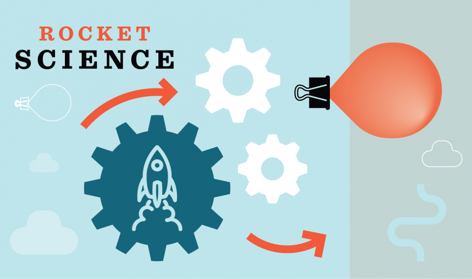 "Graphic showing cogs, balloon, binder clip, clouds and rocket with the words ""Rocket Science"""