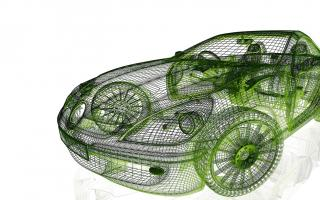 A wireframe of a sleek modern car.