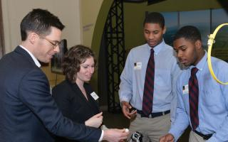 Franklin Institute scholars demonstrating a project to corporate sponsors.