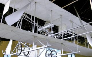 The 1911 Wright Model B Flyer artifact in the Franklin Airshow exhibit at The Franklin Institute.