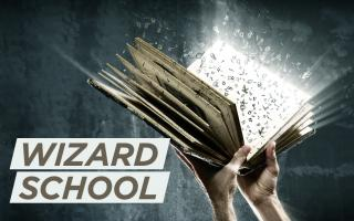 "Photo of book glowing with alphabet letters flying, with overlay text that reads ""wizard school"""