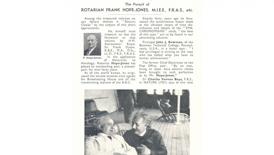 1st page of a 2 page extract from the Magazine of the London Rotary Club, July 13, 1935.