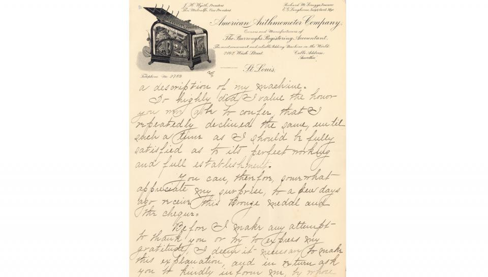 2ndpage out of 5 of Burroughs' thank you letter sent to The Franklin Institute mentioning the bronze medal and the $20.00 premium awarded.