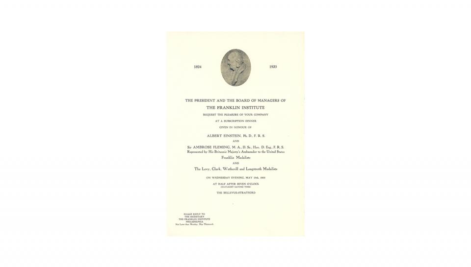 Invitation to the award dinner on May 15, 1935.