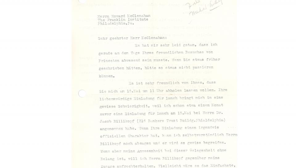 """1st page of a 2-page letter from Dr. Einstein to Dr. McClenahan, signed """"A. Einstein"""" (in German), 4/29/1935"""