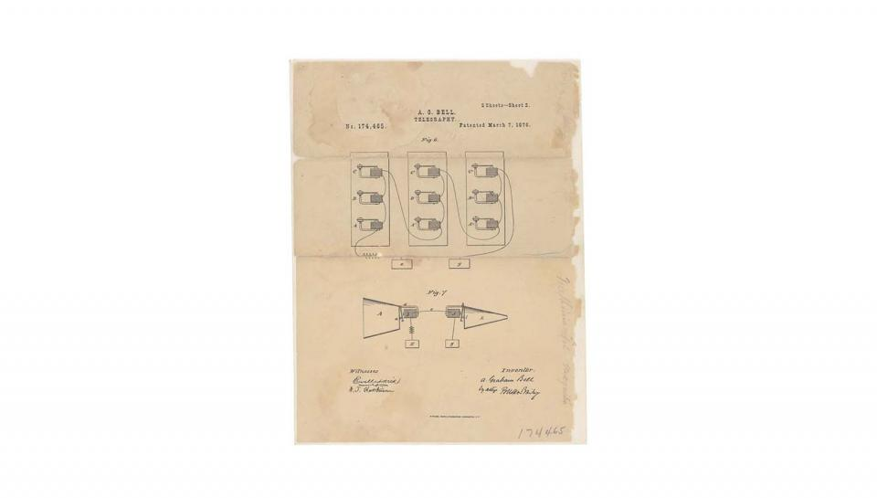 Page 2 of 2 This is the printed patent drawing illustrating Alexander Graham Bell's method of telegraphy, which is considered the first demonstrated usage of the system known as the telephone.