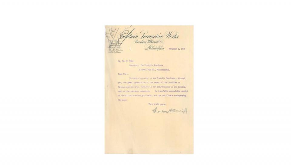 Letter from Burnham, acknowledging and appreciating the award of the Elliot Cresson medal. November 1, 1907.