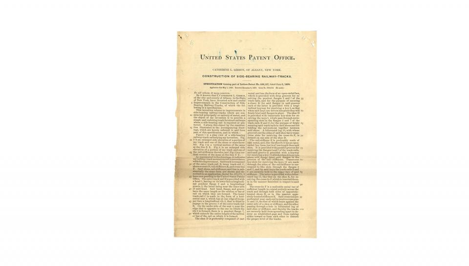 1st page out of 3 of U.S. Patent #429,127 for Construction of side-bearing railway-tracks, 6/3/1890.