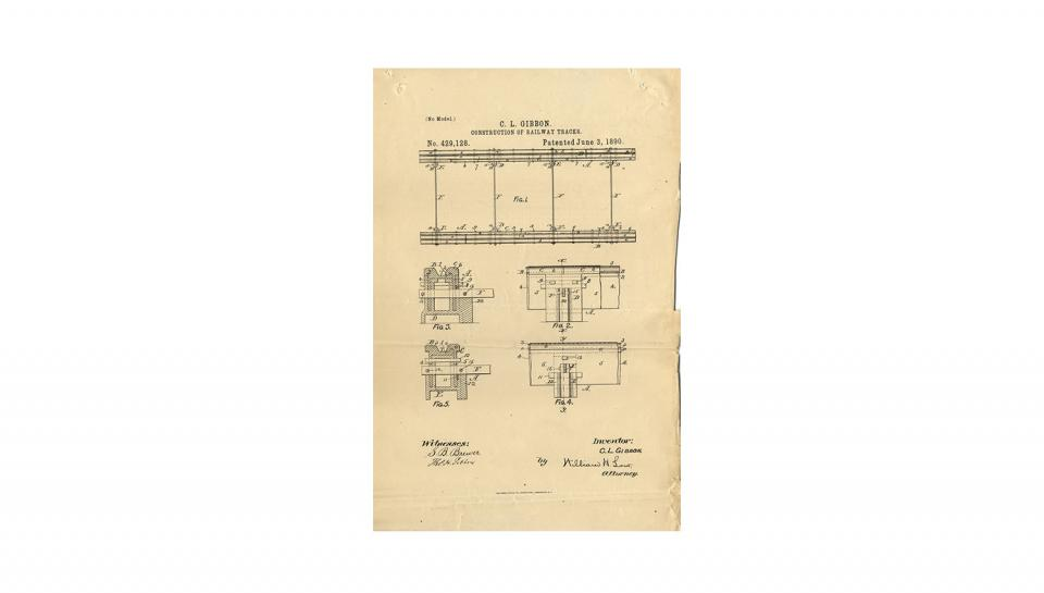 3rd page out of 3 of U.S. Patent #429,128 for Construction of railway-tracks, 6/3/1890.