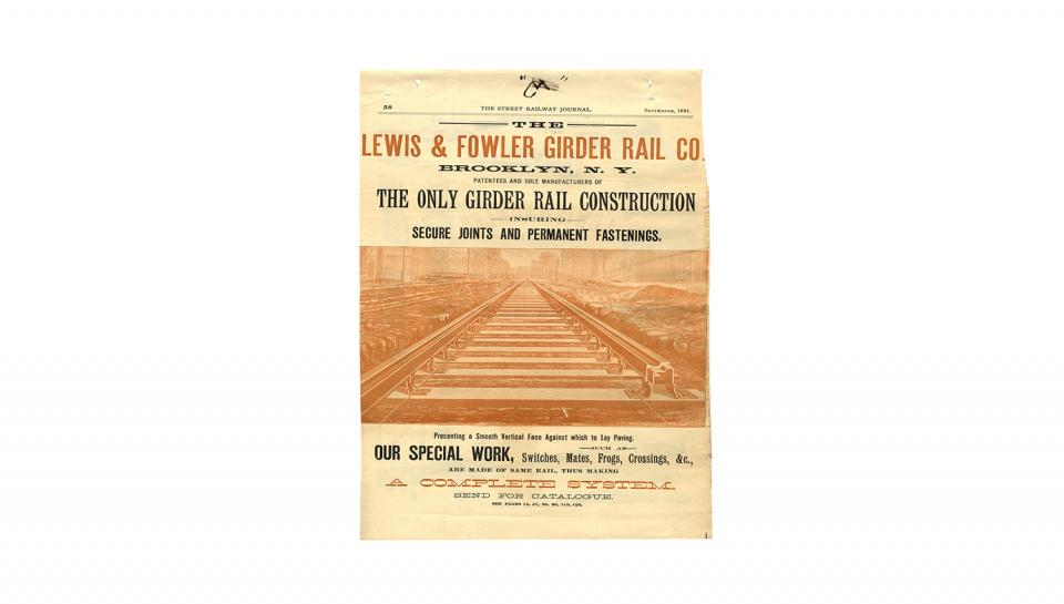 1st page out of 4 of the Street Railway Journal, Ad for Double Girder Lap Joint Track, Gibbon Duplex Street Railway Tracks, 9/1891.