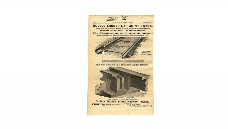 4th page out of 4 of the Street Railway Journal, Ad for Double Girder Lap Joint Track, Gibbon Duplex Street Railway Tracks, 9/1891.