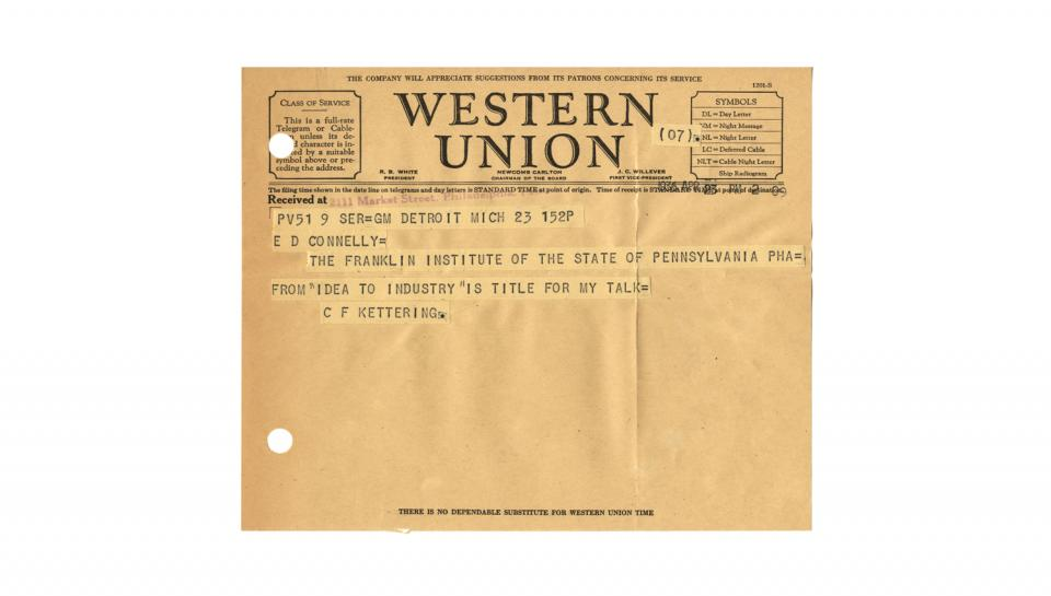 """Telegram from C.F. Kettering to E.D. Connelly, Supplying address title: """"Idea to Industry,"""" 4/23/1936"""