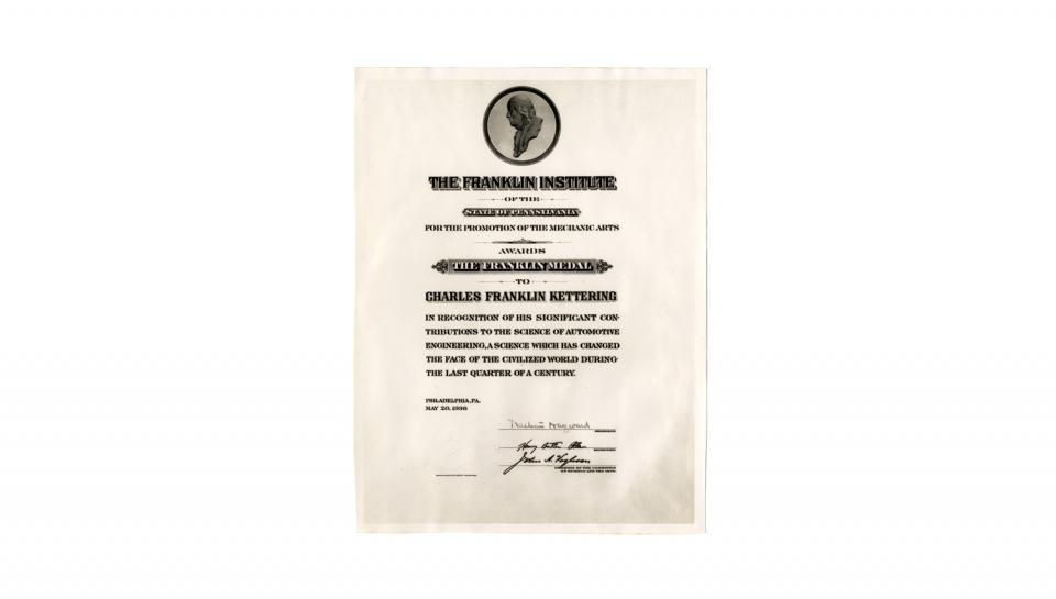 Copy of the 1936 Franklin Medal certificate, 5/20/1936