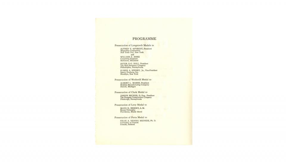 Page 2 of 3: Programme, Describing the event proceeding at the Medal meeting, 5/20/1936