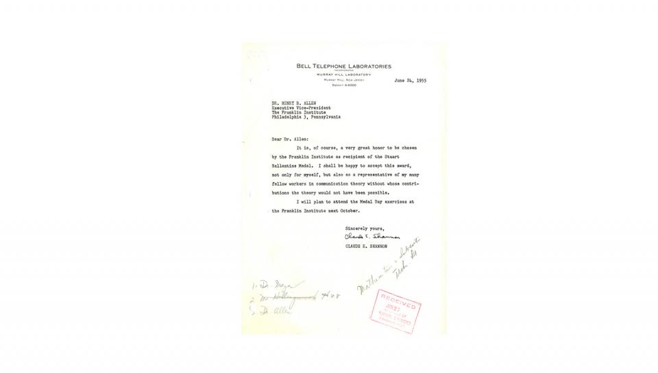 Letter to Allen from Shannon, thankingAllen for the Award, expresses plan to attend Medal Day; 6/24/1955.