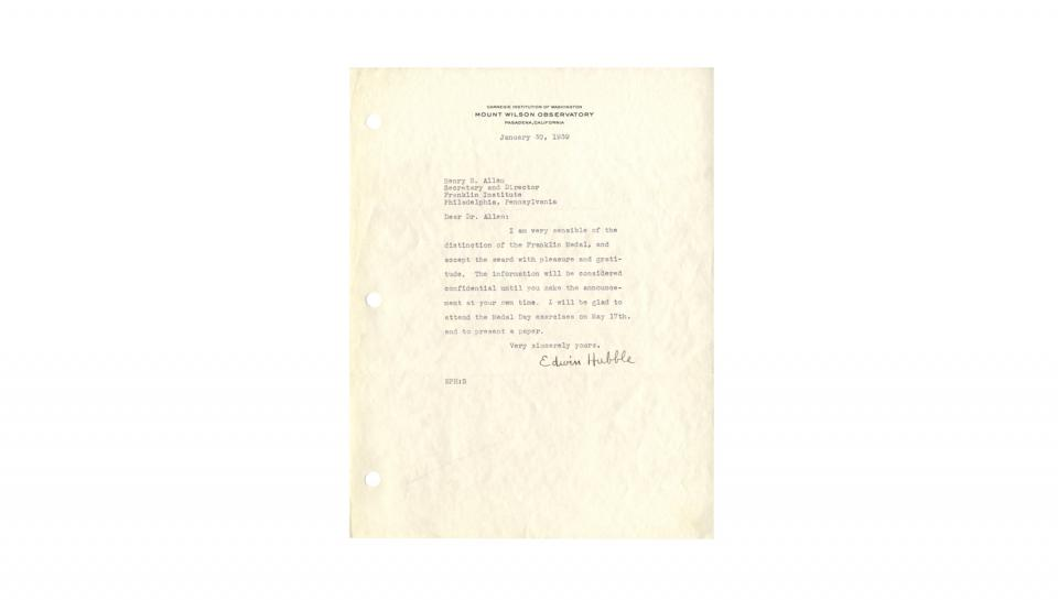 "Letter from Edwin Hubble to Henry B. Allen, Accepting Franklin Award with ""pleasure and gratitude,"" 1/30/1939"