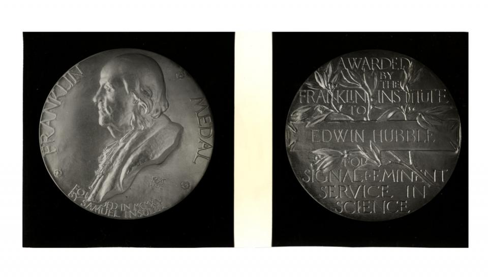 Photograph of Franklin Medal awarded to Edwin Hubble