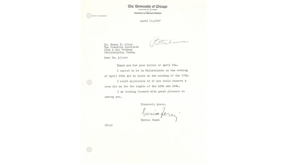 Enrico Fermi Letter, to Henry B. Allen, Accepting the presentation invitation and supplying travel details, 4/10/1947.