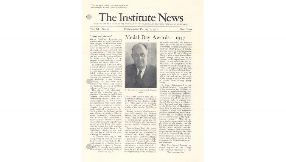 "1st page out of 2 of ""The Institute News,"" Medal Day Awards, April 1947."
