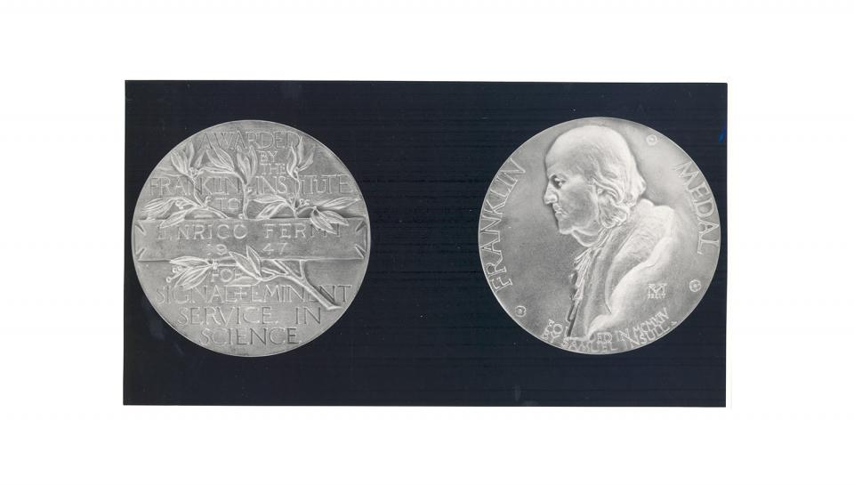 Enrico Fermi's 1947 Franklin Medal in Physics.