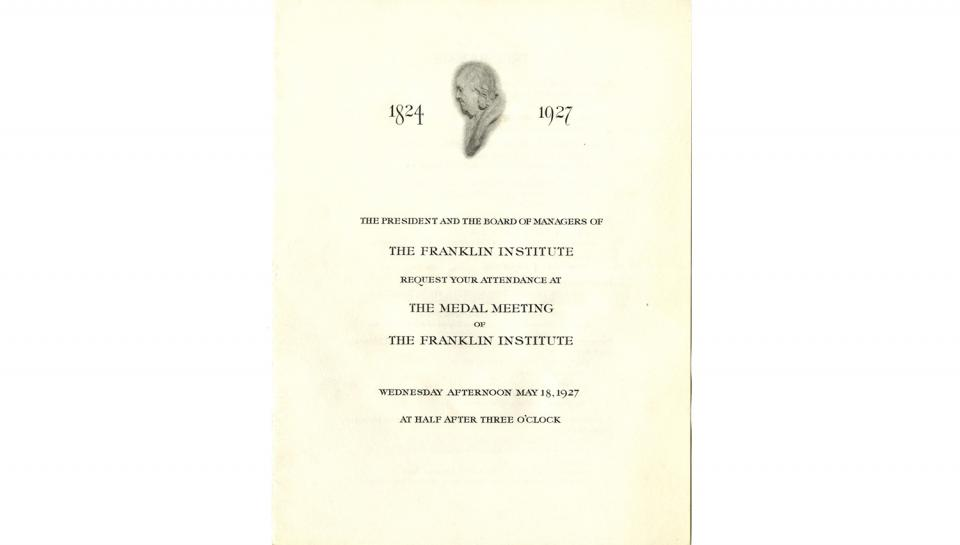 Page 1 of 3: Invitation/Programme to the Medal Meeting awarding Franklin Medals, 5/18/1927