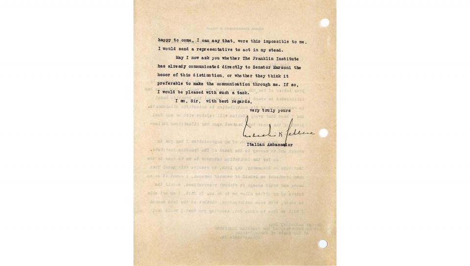 2nd page out of 2 Acknowledgement Letter from Count V. Macchi de Celere to George A. Hoadley, Acknowledging the award to Senator Marconi, agreeing to accept on his behalf, 4/11/1918.