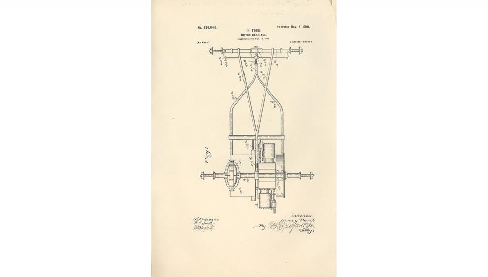 1st page out of 5 from U.S. Patent No. 686,046 on the Motor-Carriage granted to Henry Ford and the Detroit Automobile Company, 11/5/1901.