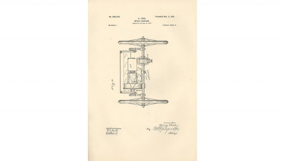 2nd page out of 5 from U.S. Patent No. 686,046 on the Motor-Carriage granted to Henry Ford and the Detroit Automobile Company, 11/5/1901.