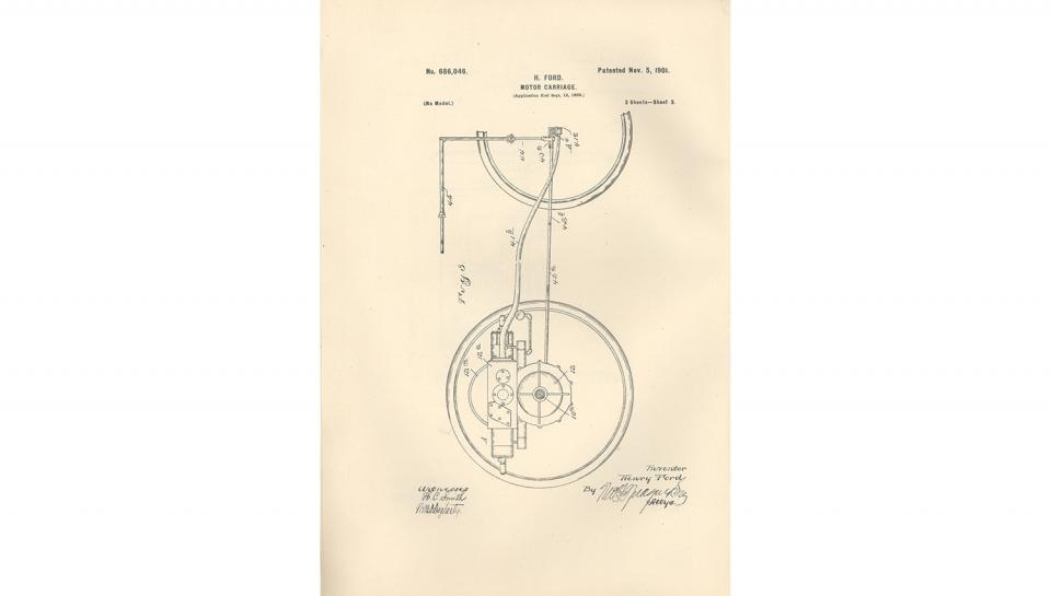3rd page out of 5 from U.S. Patent No. 686,046 on the Motor-Carriage granted to Henry Ford and the Detroit Automobile Company, 11/5/1901.