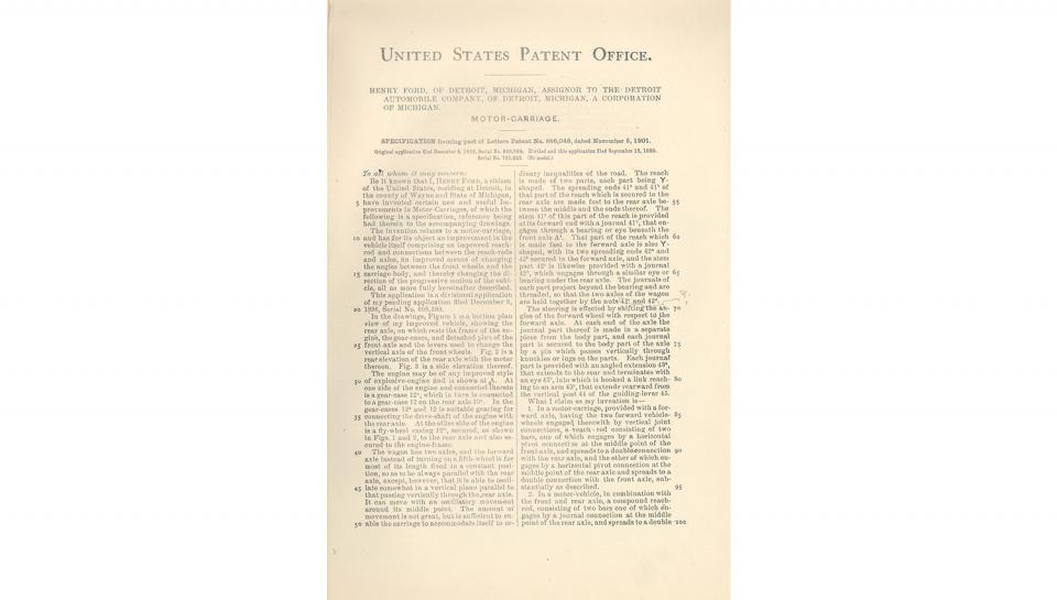 4th page out of 5 from U.S. Patent No. 686,046 on the Motor-Carriage granted to Henry Ford and the Detroit Automobile Company, 11/5/1901.