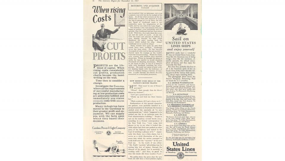 1st page out of 3 fromLiterary Digest article, Description of the new Ford automobile, 11/12/1927.